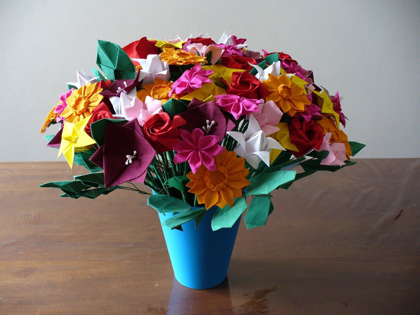 Букет цветов из бумаги оригами, букет роз орхидей