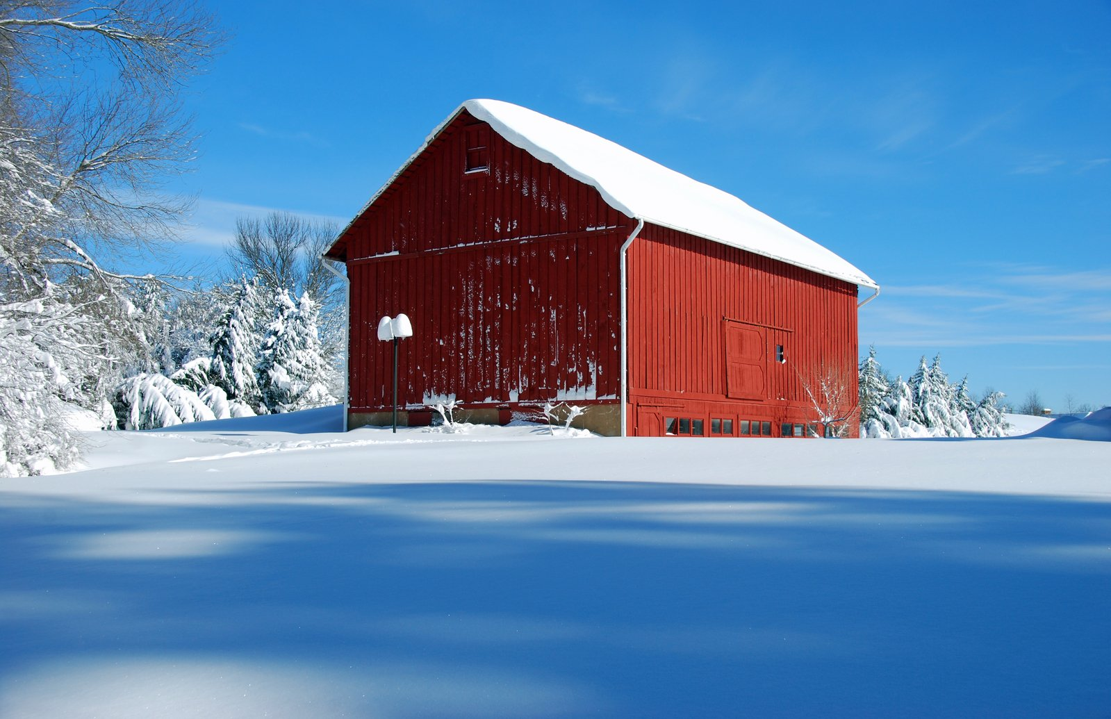 Free Red Barn In Snow 3 Stock Photo Freeimages Com