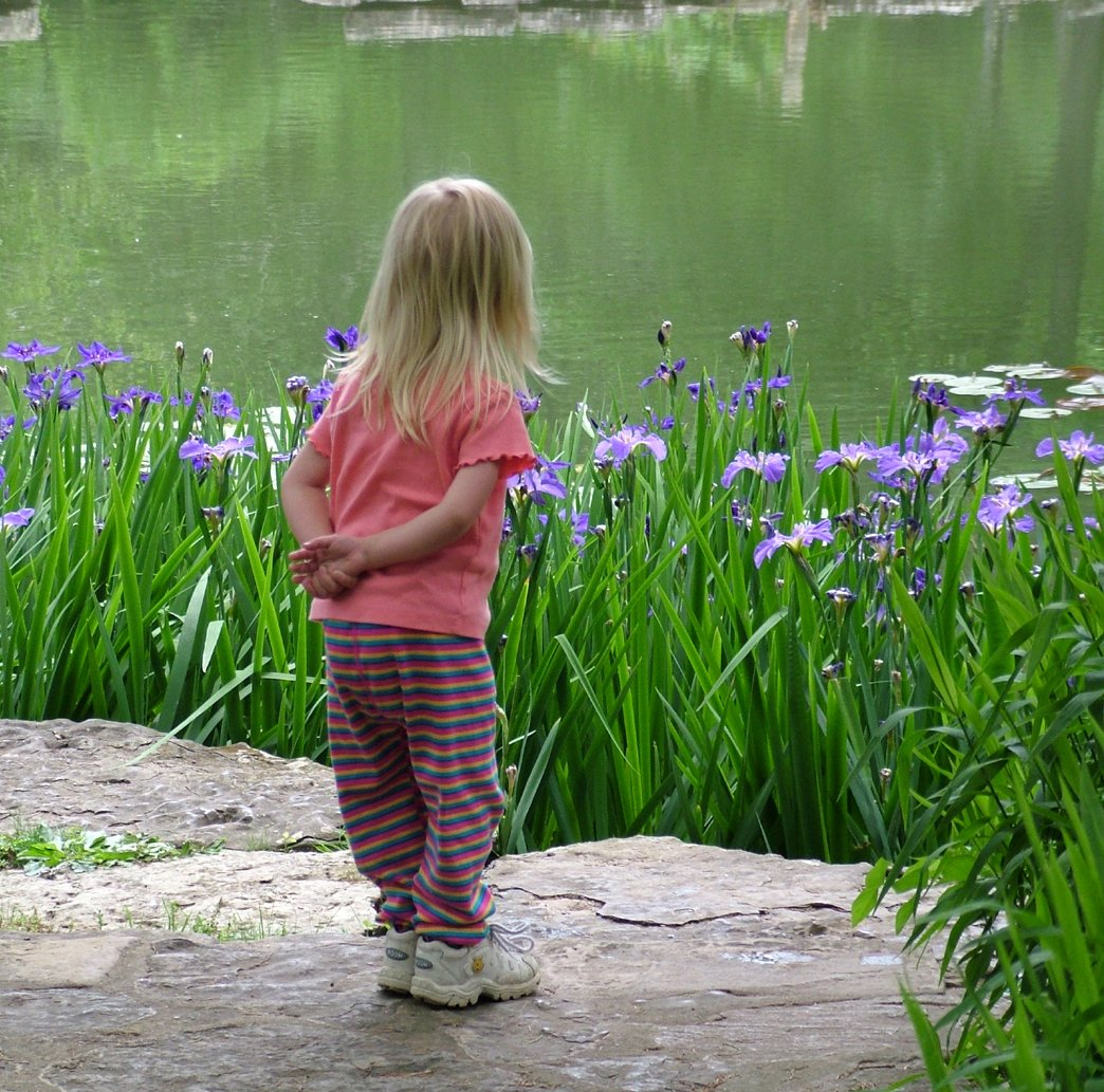 Free Sweet Young Girl Surveying The Pond Stock Photo -6918