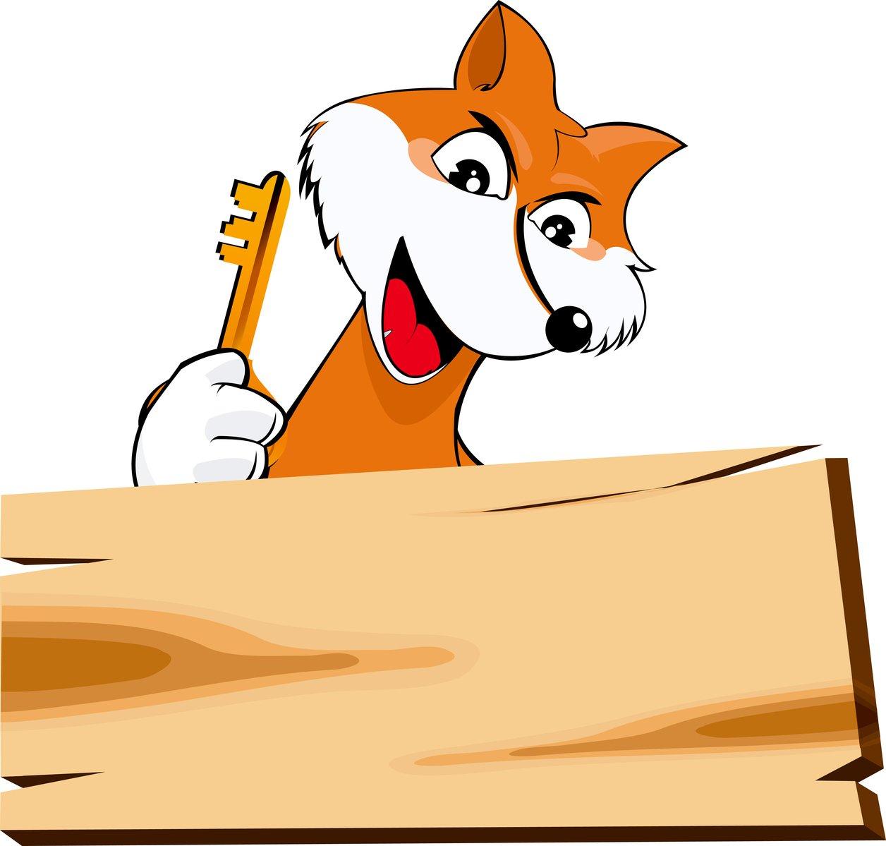 Free fox with a key stock photo - Clipart renard ...