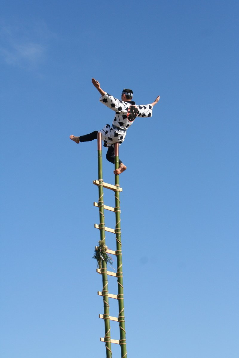 Guy Balancing At Top Of Very Tall Ladder