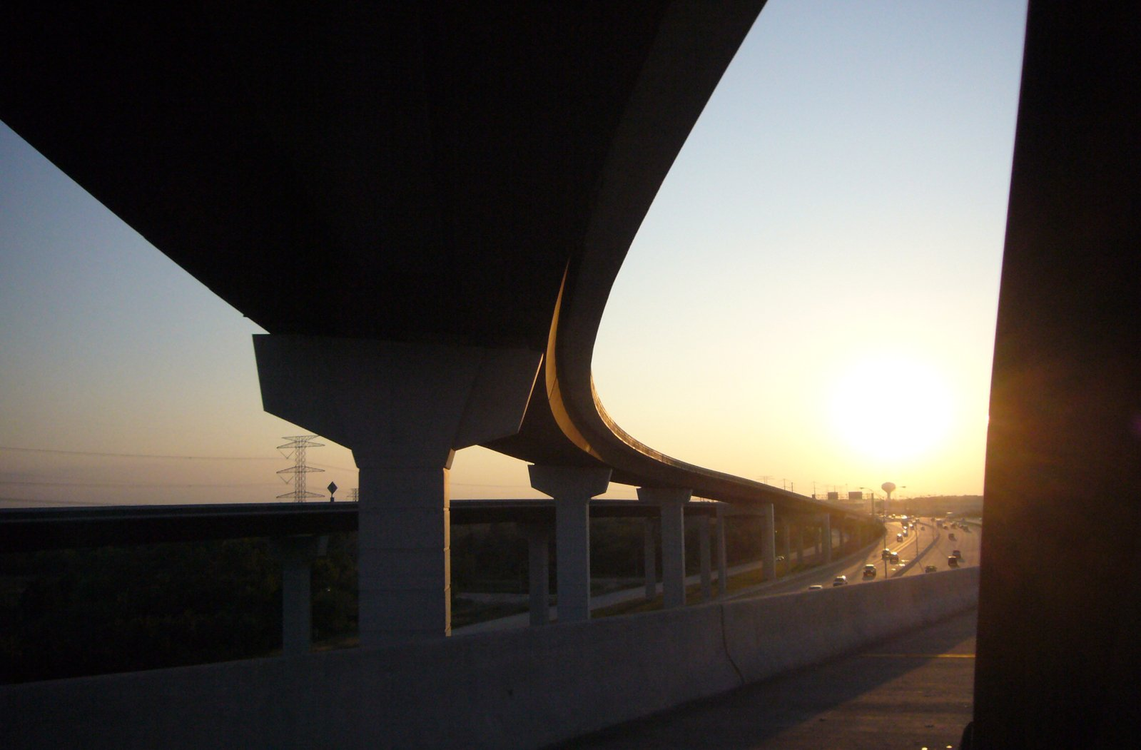 On the Highway, with the sunset out