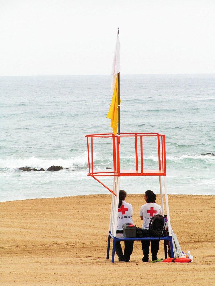 Salvaguarda, segurança, praia, guarda sol grande reforçado