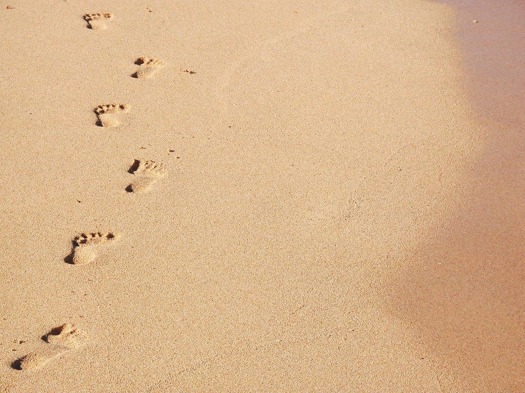 Free Footprints In The Sand Stock Photo