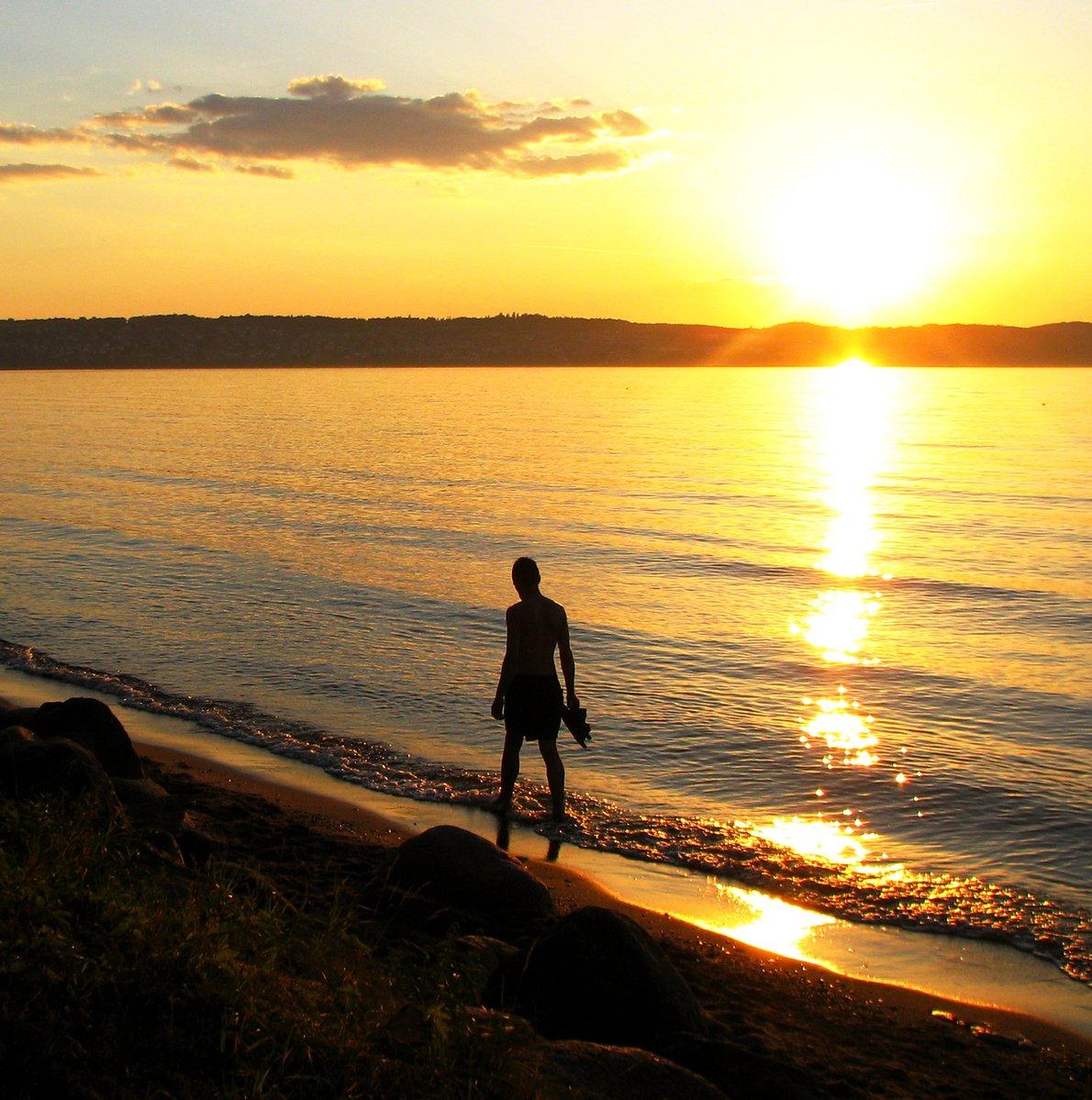 Free Man At Sunset Beach Stock Photo