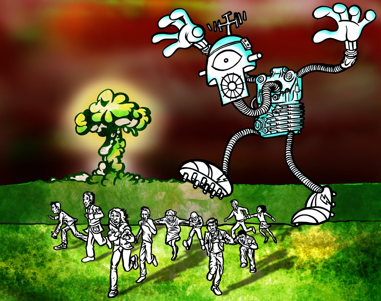 Giant robot chasing a crowd of fleeing people.