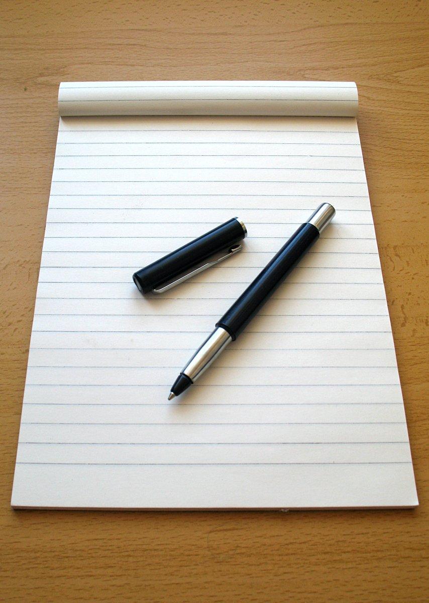Картинка с листом бумаги и ручкой, открытка