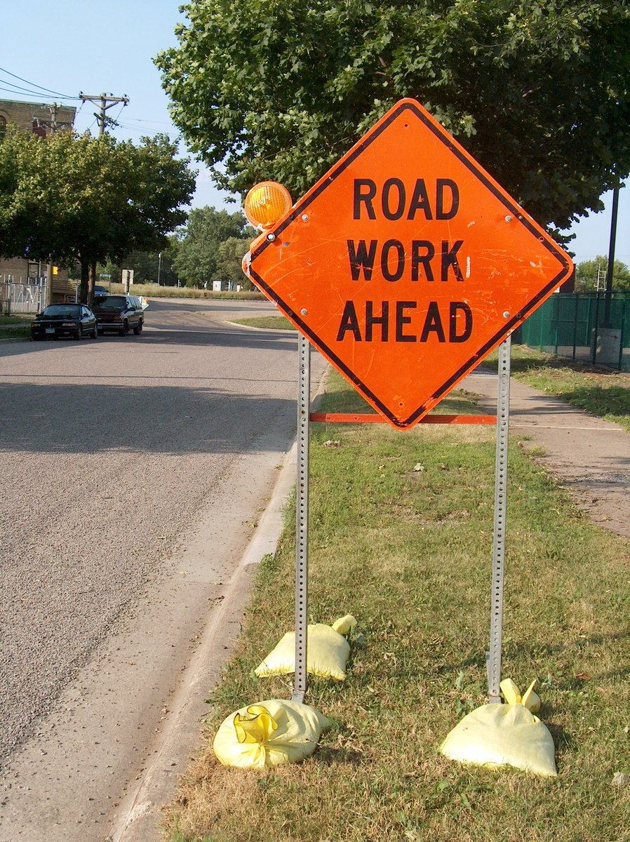 free road work ahead 1 stock photo