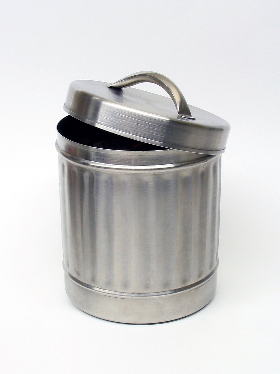 Brushed steel container
