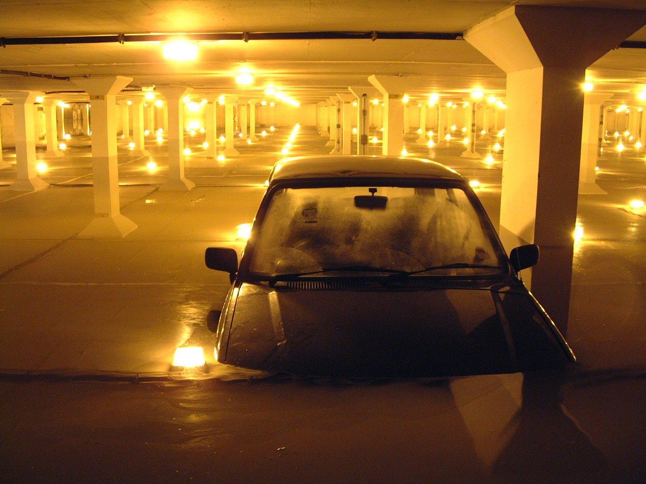 Night shot in car parking lot