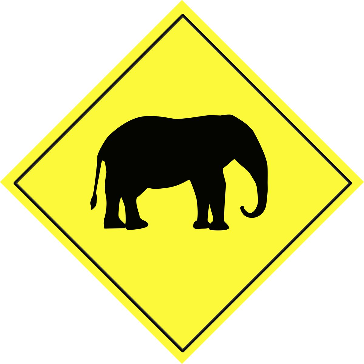 warning animal sign elephant danger shape road international wild yellow elephants square freeimages nature shooting street rgbstock
