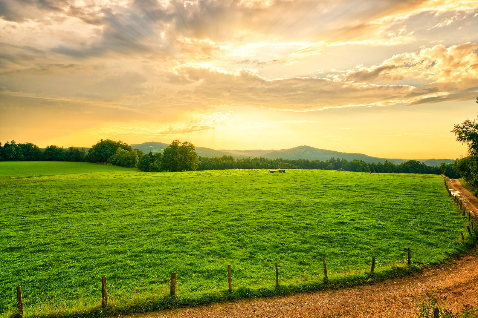 Free Farmland Sunset Stock Photo Freeimages Com