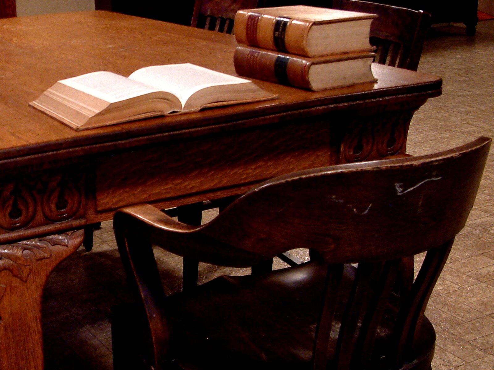 Legal books on library table