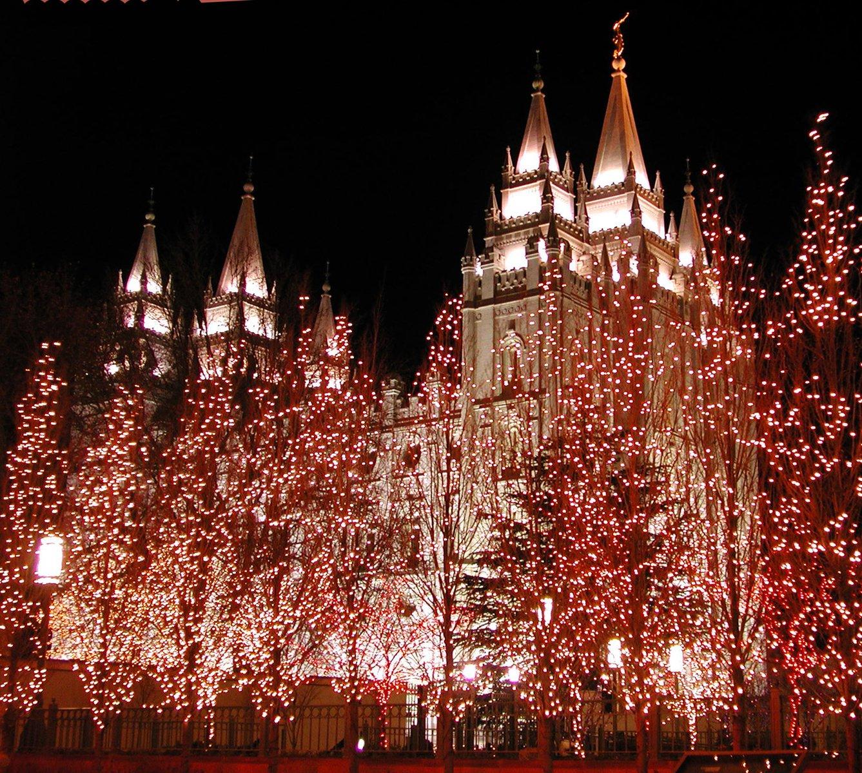 Christmas At The Lake: Free Mormon Temple-Salt Lake City -Christmas Stock Photo