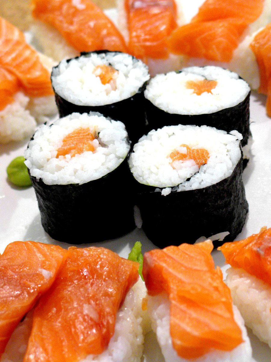 Free salmon sushi stock photo for Sashimi fish crossword
