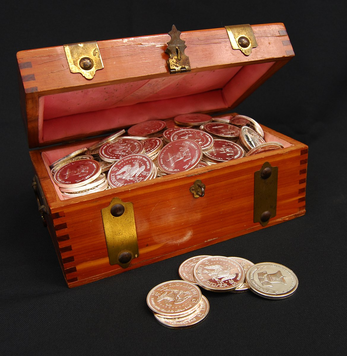 Treasure Chest and Silver Dollars
