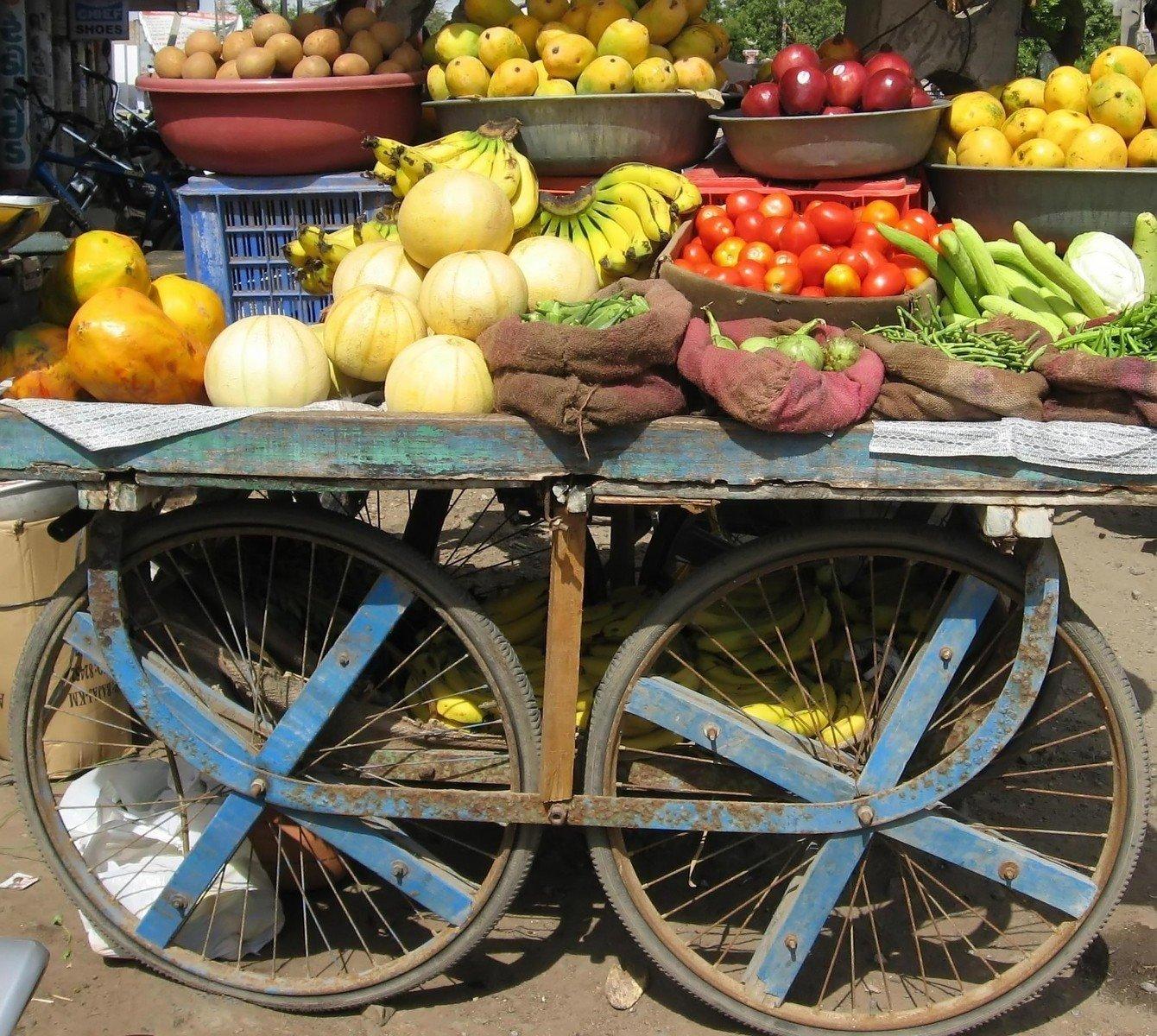 Stock Photo Frutas E Vegetal Carrinho Grátis Freeimages Com