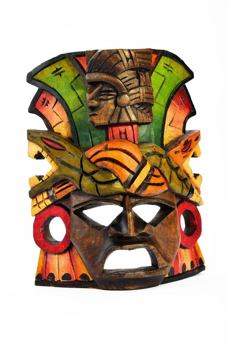 free indian mayan aztec wooden mask with anaconda and jaguar