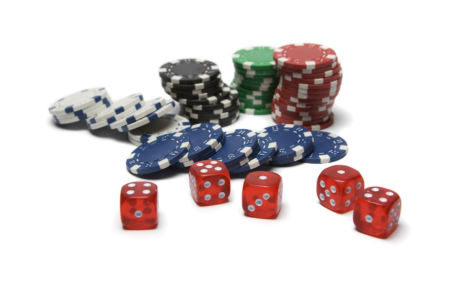 Casino fiches en dobbelstenen