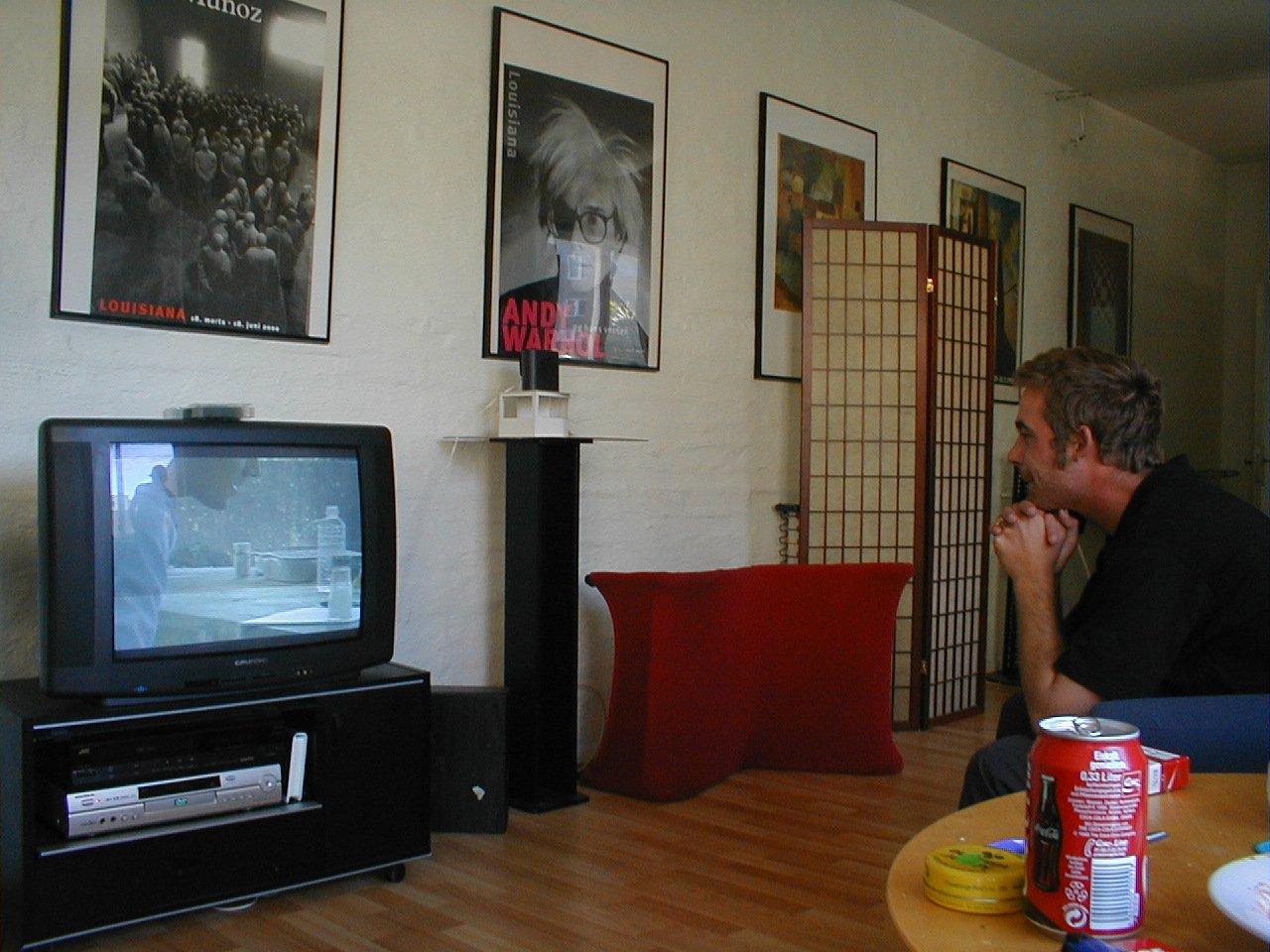 Free Man Watchin Tv Stock Photo