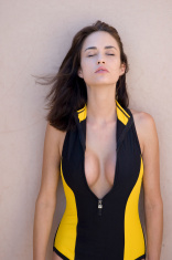 scuba suit model comtemplates