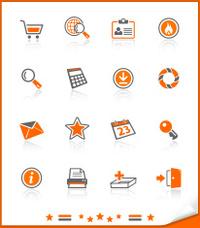icon set orange   shopping  serial