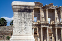 Inscriptions on a stone pillar Ephesus Turkey