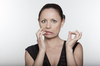anguish woman anxious portrait biting nails
