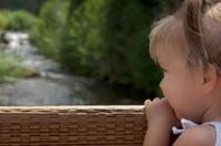 Little girl looking upstream