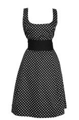 Woman black dress in white round