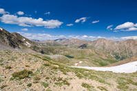 View of High Mountain Pass and Alpine Lake Landscape Summer