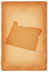 Oregon state map on old paper Background