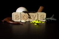 Wooden block boy scene