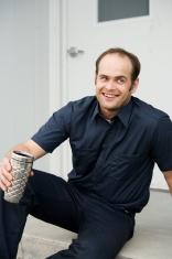 Man in Industrial Uniform Taking Coffee Break