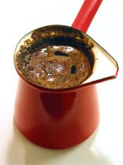 Freshly brewed turkish coffee