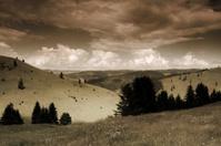 sepia toned mountain scene