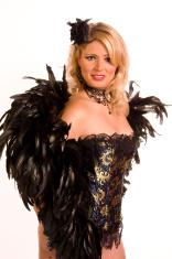 Blonde burlesque, glamour model, blue corset