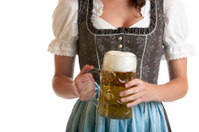 Bavarian Girl with Oktoberfest Beer Mug