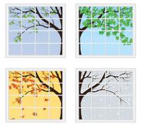 Four Seasons Behind Window