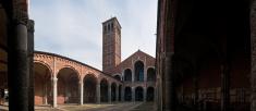 Milan Sant' Ambrogio basilica tranquil courtyard panorama Italy