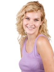 Beautiful smiling blonde on white background