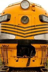 Closeup of locomotive engine.