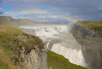 Gullfoss Waterfall with rainbow