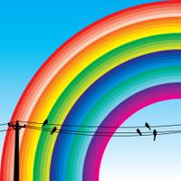 Scene of Rainbow with Birds on Wire