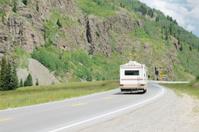 Motorhome on mountain road