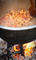 hungarian goulash - cooking in the nature
