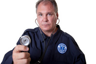 EMT with stethoscope