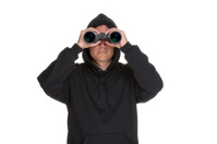Creepy guy with binoculars.