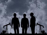 Three Oil Workers and Pumpjacks