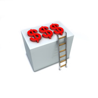 Dollar signs on top of a box reachable by ladder